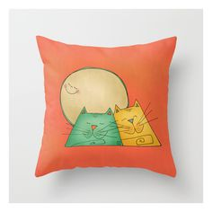 Cats Throw Pillow ($20) ❤ liked on Polyvore featuring home, home decor, throw pillows, cat home decor, animal throw pillows and cat throw pillow