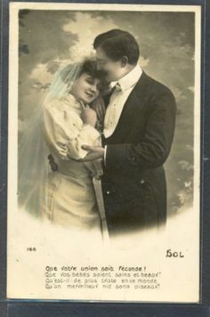 QA174-WEDDING-DAY-BRIDE-EDWARDIAN-COUPLE-FRENCH-Tinted-PHOTO-pc