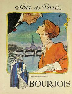 Affiche Bourjois Soir de Paris - France - illustration de Raymond - 1950 -