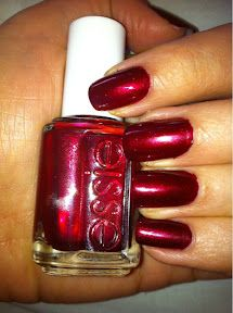 Essie in Thigh High (£8.50) - Flash   This polish is described as: 'a deep and frosty bold ruby red' and is DBP, Toluene and Formaldehyde Free.  Essie is available to buy in the UK from a few sites including Beauty Bay  Top coat - Seche Vite    http://moonflowermakeup.blogspot.co.uk/2012/02/year-of-nail-polish-no-13-essie-thigh.html