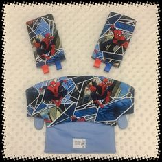 A personal favorite from my Etsy shop https://www.etsy.com/listing/492510051/spiderman-comics-superhero-drool-pads