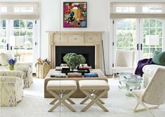 Mica Ertegün's East Hampton New York, living room, taken from House Beautiful US edition November 2012