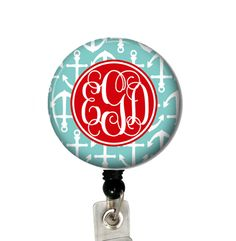 Teal Anchors Vine  Badge Reel #idtag #badgereel #idholder #abbyloutwo #name #badgeholder #stethoscopeidtag #stethoscope #initials #monogrammed #personalized #nurse
