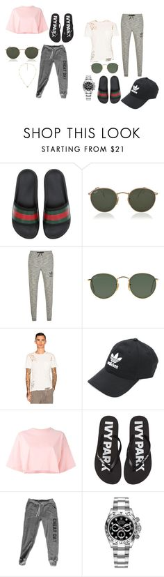 """""""1"""" by ngezh95 ❤ liked on Polyvore featuring Gucci, Ray-Ban, adidas Originals, NSF, adidas, Puma, Ivy Park and Rolex"""