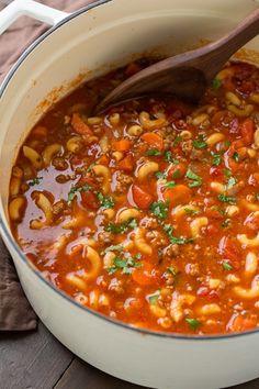 Beef and tomato macaroni soup recipe