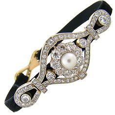 Edwardian Diamond & Pearl Platinum-Over-Gold Handmade Bracelet  1910
