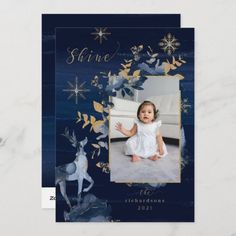 Shine Navy Gold Snowflakes Reindeer & Jewels Photo Holiday Card: Shine Navy Gold Snowflakes Reindeer & Jewels Photo Holiday Card by moodthology Christmas Photo Cards, Holiday Cards, Navy Gold, Reindeer, Snowflakes, Invitations, Jewels, Frame, Christian Christmas Cards