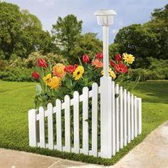 White Wood Corner Fence with Solar Powered Light | Decor & Garden | Brylanehome