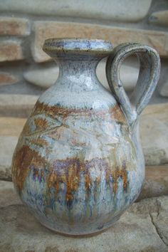 Ceramic Vase Rustic Grey and Brown Glaze
