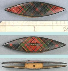 Antique Scottish Caledonia Tartan Ware Child's Tatting Shuttle; Circa 1870