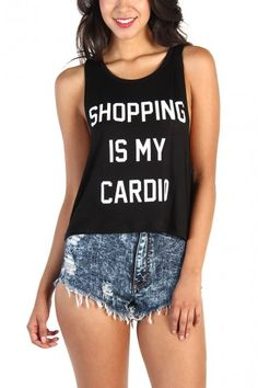 LoveMelrose.com From Harry & Molly | Shopping is my Cardio Tank - Black