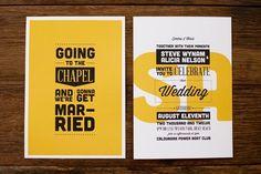 Typographic Wedding Invitation. Yellow wedding invitation KERRIE-ANNE