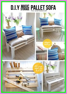 Get inspired by these 21 DIY Pallet Sofa Plans and pallet furniture projects which are sure to make you get with your favorite pallet couch designs built in pallet