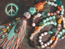 Bettelkette ✿ Boho ✿ Jade/böhmische Glasperlen