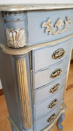 Refurbished grey gold jewelry armoire Home Is Where The Heart Is