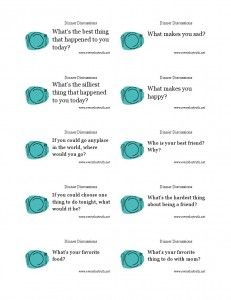 Start off your dinnertime discussions with these great questions from my blog. Print them off, stick them in a jar and draw a new one every night.