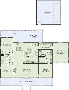 Love this 3 bedroom with a playroom for a pool table and later.. homework desks and toy chests :)