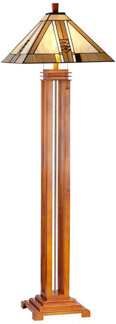 Oak Finish Mission Floor Lamp -