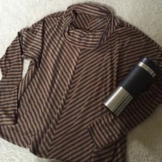 LOFT tan and charcoal striped sweater Lightweight and very comfy! Pair with leggings, boots and your latte and you are ready for errands and brunching! ☺️ Gently used and soft wear noted from wash. Sweaters