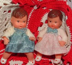 Two Vintage Minature Tiny Dolls