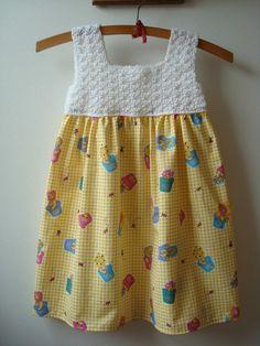 Springtime Easter Crochet Top Sleeveless Sundress --Size to White with Yellow Check Teddy Bear Print Fabric - OOAK - Ready to SHIP Boy Crochet Patterns, Crochet Girls, Crochet Baby Clothes, Crochet For Kids, Knit Crochet, Crochet Dresses, Toddler Dress, Baby Dress, Easter Crochet
