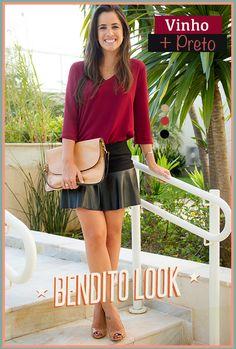 Bendito Look - Preto e Vinho #benditolook #lookdodia #lookoftheday #fashion #moda #style #estilo #vinho#preto