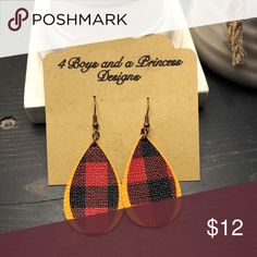 Handmade leather earrings Yellow and plaid leather earrings! Such a beautiful combination!! Jewelry Earrings