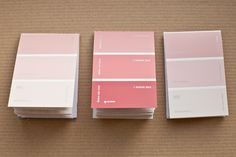 ideal valentines gifts, 3 mini notebooks in shades of pink, paint chip sample cards. £1.50, via Etsy.    okay not as a notebook, but paint sample placecards..