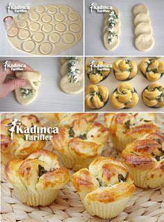 Muffin Kalıbında Çiçek Poğaça Tarifi, Nasıl Yapılır - pionero de la cosmética, alimentación, moda y confección Donut Recipes, Pastry Recipes, Cooking Recipes, Shrimp Recipes, Kids Meals, Easy Meals, Bread Shaping, Homemade Pastries, Tasty