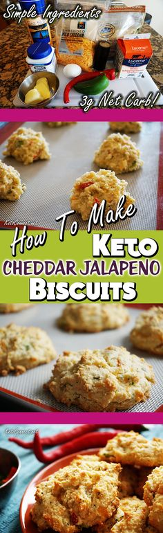 Super easy, simple ingredient, Keto Cheddar Jalapeno Biscuits!  These puppies have 3g of Net Carbs each.  Perfect for sandwiches or as a side to help you achieve your low-carb goals.  #Keto