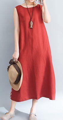 Women loose fit over plus size pocket dress maxi tunic Bohemian Boho casual chic Women's Dresses, Trendy Dresses, Casual Dresses, Summer Dresses, Linen Dresses, Casual Clothes, Bride Dresses, Red Dress Casual, Ebay Dresses