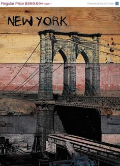 Old Brooklyn Bridge. Unstretched Canvas Print Large