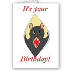 Funny Rat birthday cadr for anyone. by www.zazzle.com/artistjandavies*