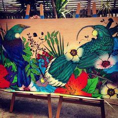 Hayley King aka Flox - New Zealand Murals Street Art, Mural Art, Polynesian Art, New Zealand Art, Nz Art, Art Diary, Public Art, Public Spaces, Maori Art