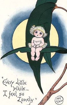 Soloillustratori: Cecilia May Gibbs Vintage Moon, Vintage Cards, Book Week Costume, Christmas Cover, Baby Tattoos, Commercial Art, Australian Art, Woodland Creatures, Fairy Art