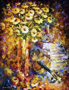 "The Rhythm Of Thoughts — PALETTE KNIFE Still Life Modern Textured Oil Painting On Canvas By Leonid Afremov - Size: 30"" x 40""(75 cm x 100 cm)"