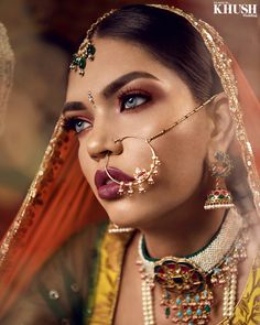 Makeup By Amara :: Khush Mag - Asian wedding magazine for every bride and groom planning their Big Day Asian Bridal Hair, Bridal Hair And Makeup, Bride Makeup, Hair Makeup, Nose Jewels, Middle Eastern Makeup, Indian Aesthetic, Hair Jewelry, Jewellery