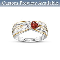 Two Hearts Become One Personalized Ring