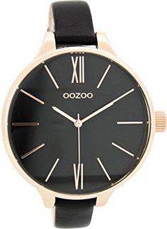 Oozoo Damenuhr mit Lederband 45 MM Rose/Schwarz/Schwarz C7544