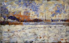 Snow Effect: Winter in the Suburbs - Georges Seurat  Fecha de comienzo: 1882  Fecha de finalización:1883  Lugar de creación: France  Estilo: Posimpresionismo  Genero: paisaje urbano  Técnica: óleo  Material: wood  Galeria: Private Collection  Etiquetas: winter, streets-and-squares