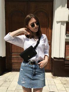 Denim skirt, white shirt and a belt bag Denim Skirt, Personal Style, Summer Outfits, Belt, Skirts, Fashion, Belts, Moda, Skirt