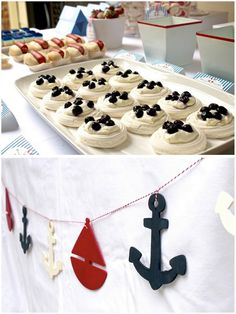 navy blue red white nautical themed first birthday party dessert table anchor sailboat bunting banner Birthday Party Desserts, First Birthday Parties, First Birthdays, Sailor Party, Nautical Party, Nautical Bunting, Bunting Banner, Nautical Food, Party Fiesta