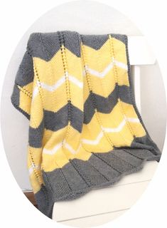 Chevron Baby blanket - easy 2 row repeat. Easily memorized and quick to knit!
