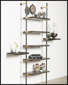 Amuneal Designed - The Loft Shelving System - Amuneal: Magnetic Shielding & Custom Fabrication Foyers, Glass Shelves, Display Shelves, Display Ideas, Retail Shelving, Wall Shelving, Shelving Ideas, Loft Wall, Rustic Bathroom Designs