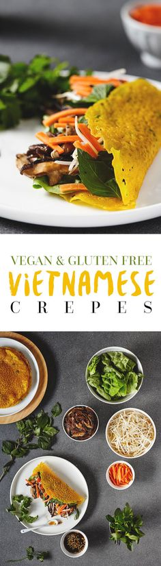 A crispy Vietnamese crepe piled to the brim with healthy, fresh toppings like sautéed onions and mushrooms, crunchy bean sprouts and fragrant herbs. Topped with a sweet and spicy soy dressing. Fun and healthy! Vegan & Gluten Free.