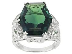 Teal Fluorite 13.50ct With White Topaz .43ctw Sterling Silver Ring