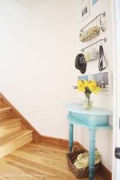 sarah m. dorsey designs: Ombre Table for Entryway!!  Took circle table, cut it in half, and used table in two different areas.