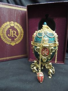 Joan Rivers Designer Egg Pendant Necklace Imperial Collection Faberge Egg Box
