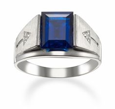 Men's Birthstone Rings in 14k White Gold