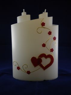 Hochzeitskerze rote Herzen und Ranken gold